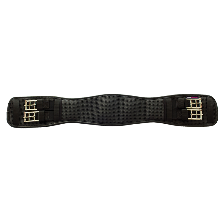 Hycomfort Waffle Dressage Girth Elastic Both Ends Black | Country Ways