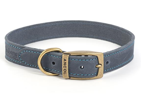 Ancol Timberwolf Leather Collar Blue 28-36M (Size 3)