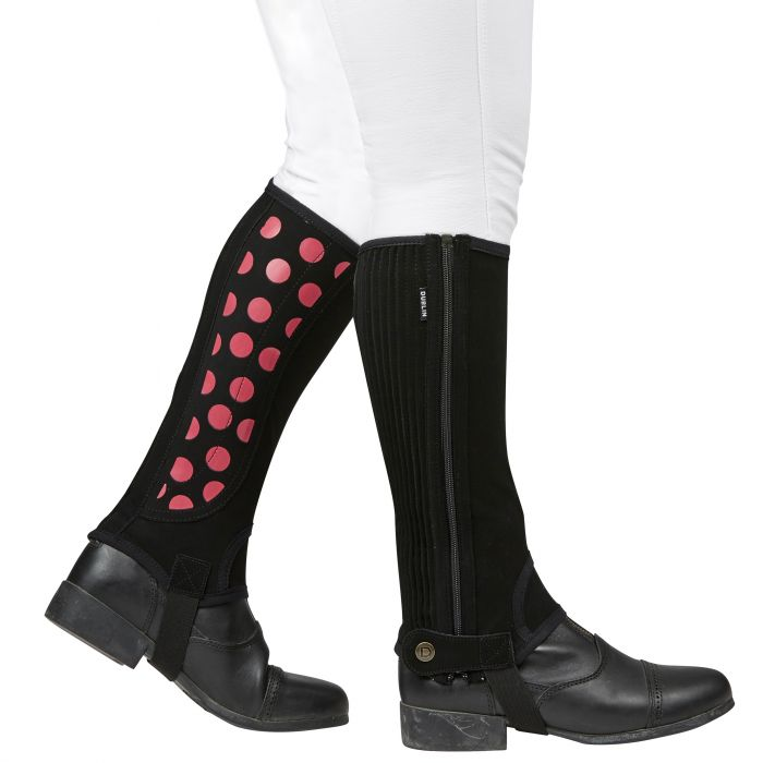 Dublin Easy Care Spot Print Half Chaps Black/Pink | Country Ways