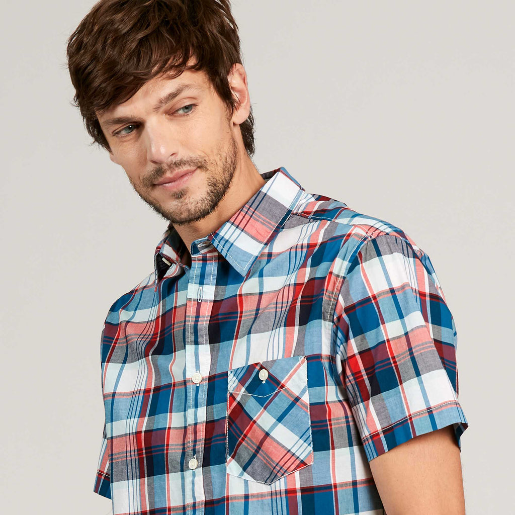 Aigle Coumelo Short Sleeve Shirt Check Storm Blue | Country Ways