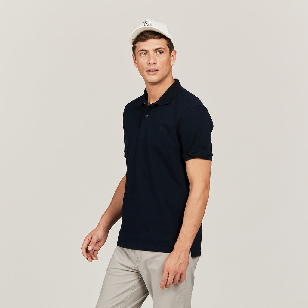 Aigle Esterone Short Sleeve Polo Shirt Dark Navy | Country Ways