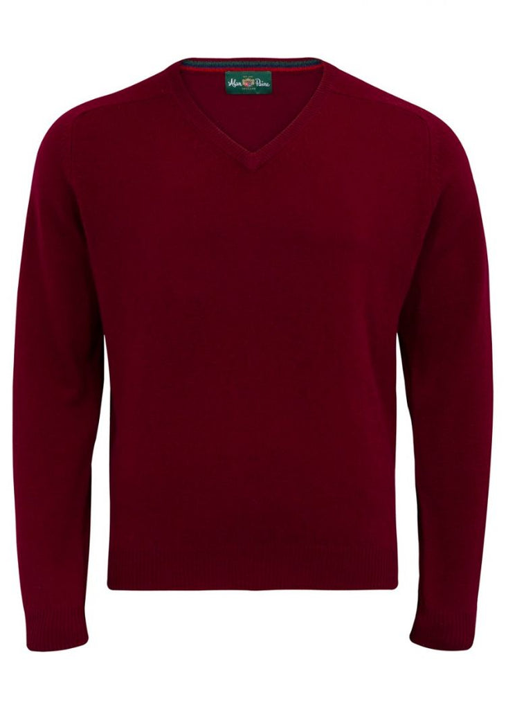 Alan Paine Streetly Mens V Neck Jumper Bordeaux | Country Ways