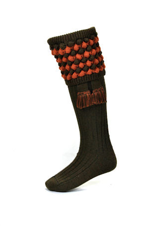 House of Cheviot Socks Angus with Garter Bracken Cinnamon | Country Ways