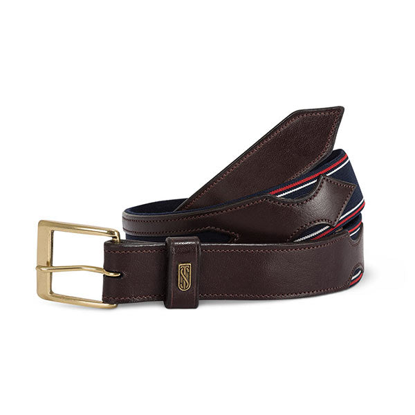 Tredtep Flex Belts Havana Leather Navy/Red White | Country Ways