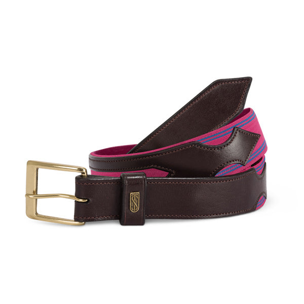 Tredtep Flex Belts Havana Leather Magenta/Blue | Country Ways