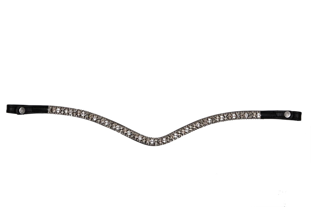 Montar Deluxe Curved Browband Grey/Black | Country Ways