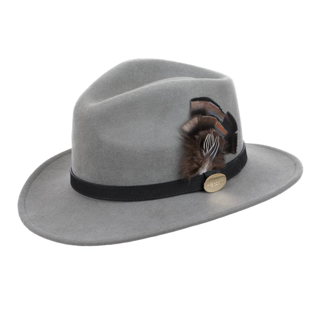 Hicks & Brown Fedora Hat Grey (Bronze Feather) | Country Ways