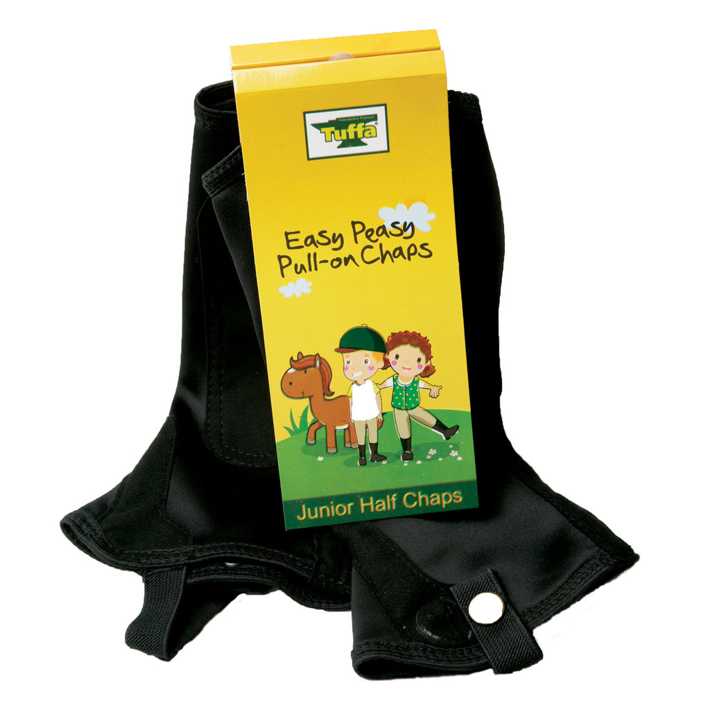 Tuffa Junior Pull on Half Chaps Black | Country Ways