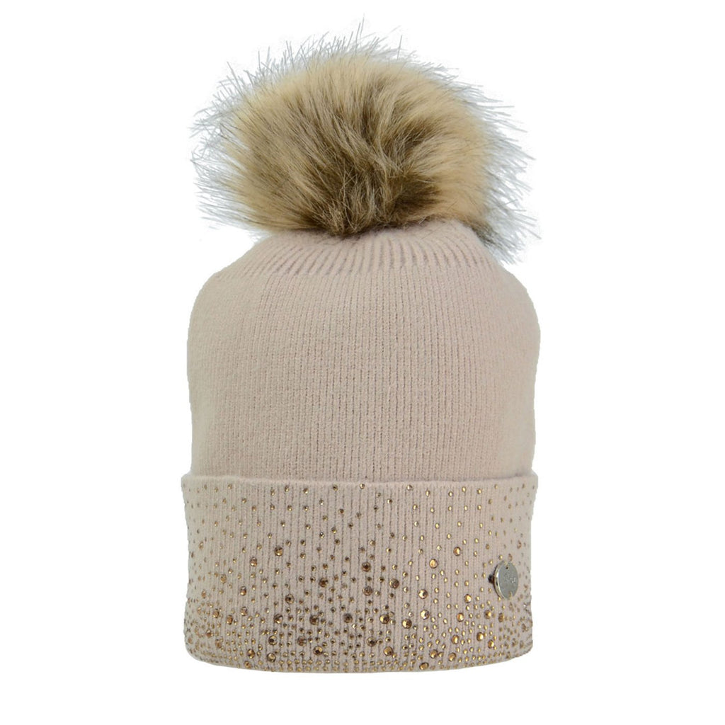 HY Equestrian Alaska Diamante Bobble Hat - Beige/Gold | Country Ways