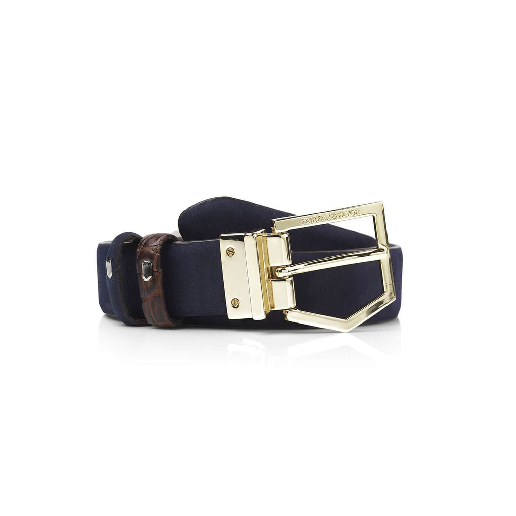 Fairfax & Favor Blickling Reversible Belt Navy/Brown Croc | Country Ways
