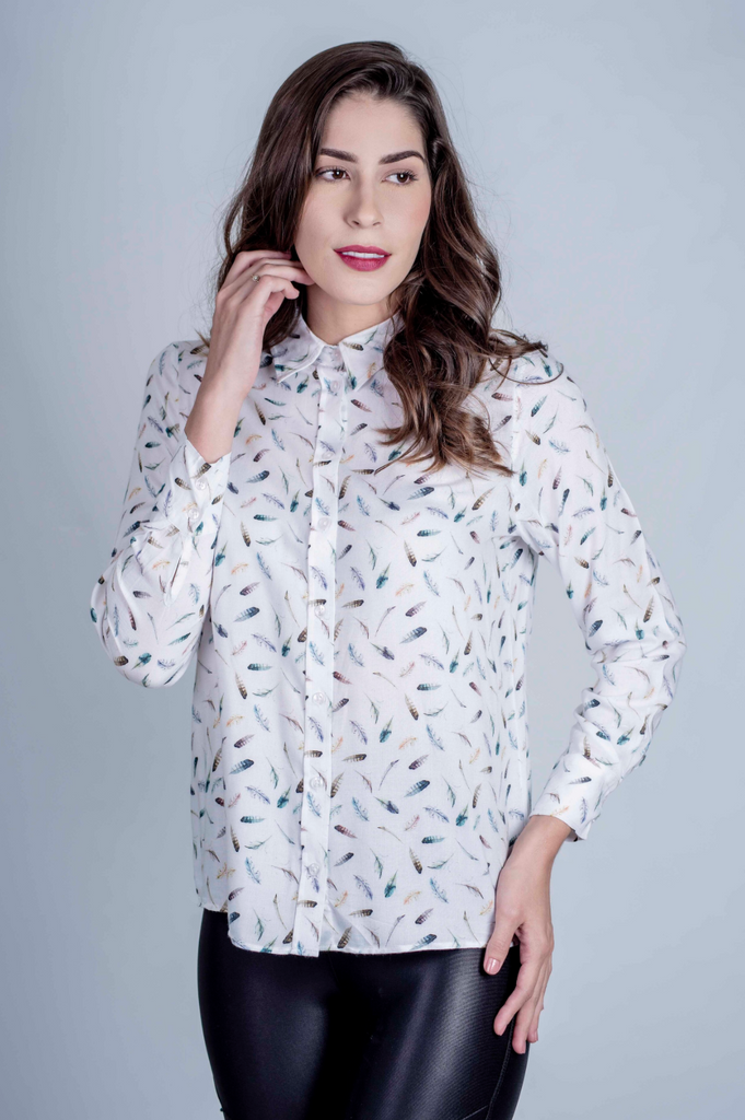 Hartwell Lydia Shirt Colourful Feathers | Country Ways