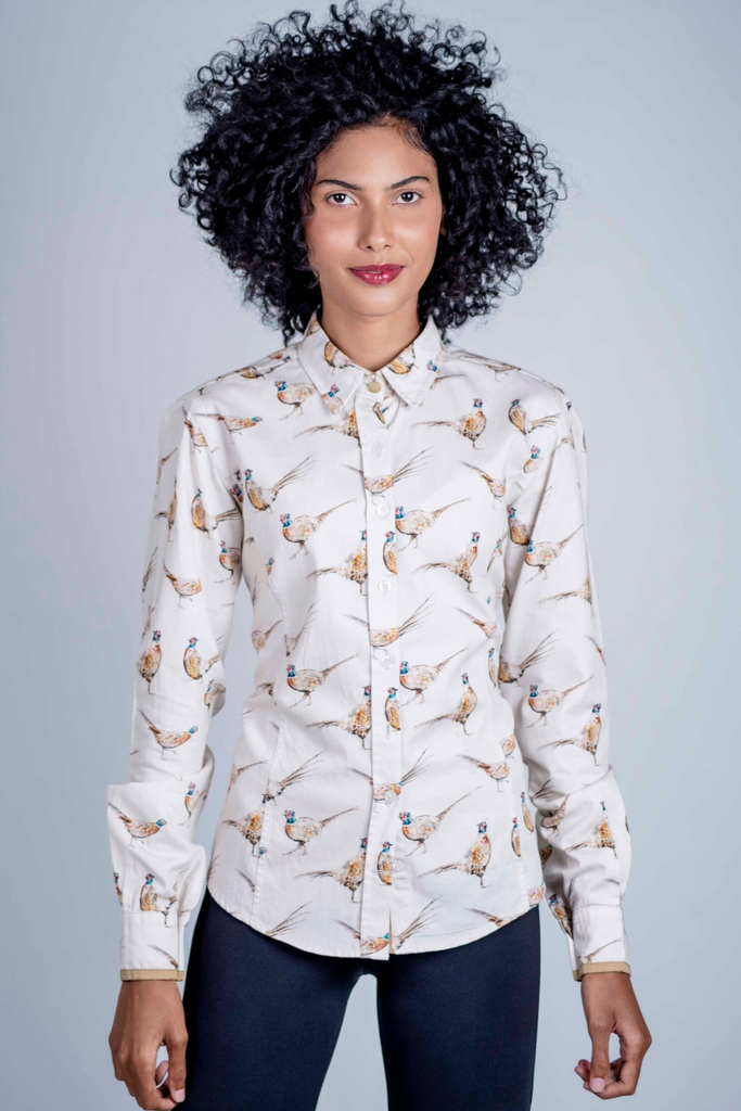 Hartwell Layla Shirt Beige Pheasants | Country Ways