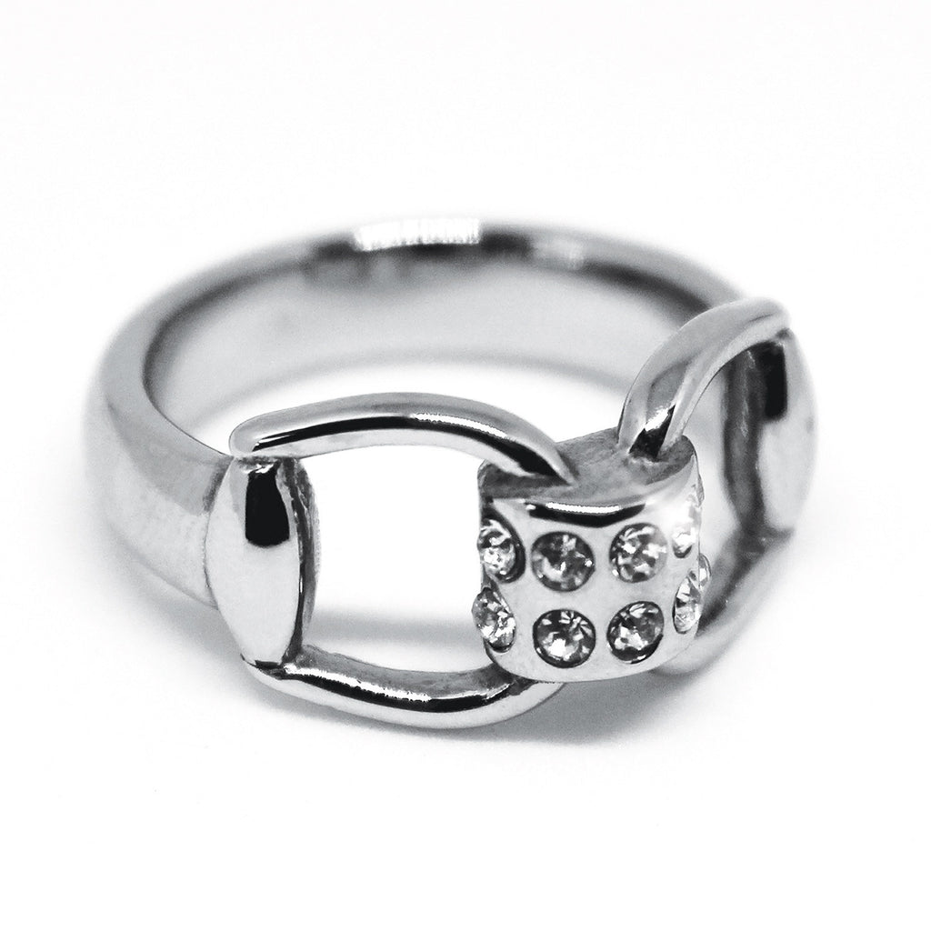 Equetech Snaffles Bit Diamante Ring Silver | Country Ways