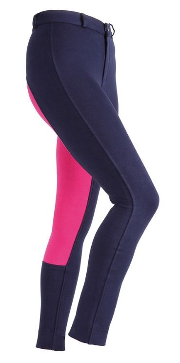 Shires Wessex Two Tone Jodhpurs Maids Navy/Pink | Country Ways