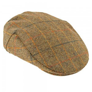 Heather Hats Kinloch Tweed Flat Cap Brown/Orange Check | Country Ways