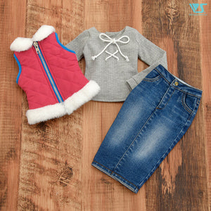 Day Camp Fur Quilt Vest Set