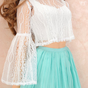 See-through Blouse & Pleated Skirt Set