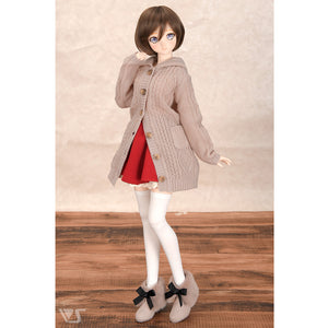 Hooded Long Cardigan (Dull Pink)