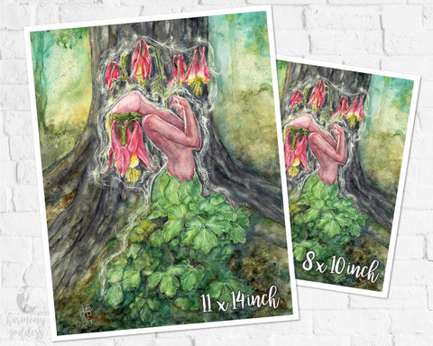 Wild Columbine Goddess Art Print