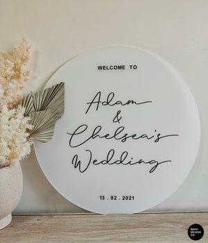 Round White Frosted Acrylic Welcome Sign