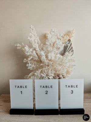 Frosted Acrylic Table Numbers, Wedding Table Numbers, Sans Serif Style