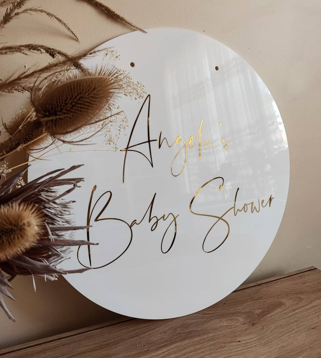 Glossy White Round Acrylic Welcome Sign, Baby Shower Sign