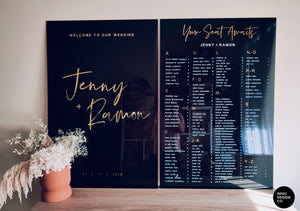 Transparent Black Acrylic Seating Chart with gold headings - Alphabetical Seating Plan