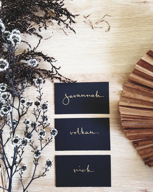 Flat Black and Gold Wedding Place Cards