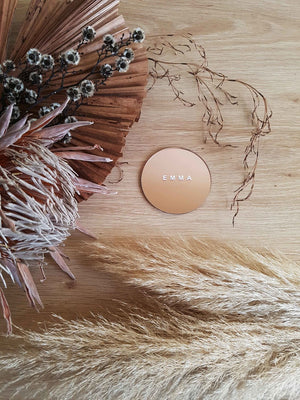 Rose Gold Wedding Place Cards, Rose Gold Wedding Sign, Round Acrylic Place Cards, Rose Gold Place Setting, Round Rose Gold Name Tags