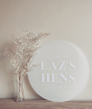 Frosted Round Acrylic Welcome Sign, Frost Acrylic Wedding Sign, Round Modern Wedding Sign, Acrylic Wedding Decor