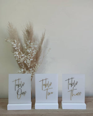 Frosted Acrylic Table Numbers with Gold Vinyl Lettering