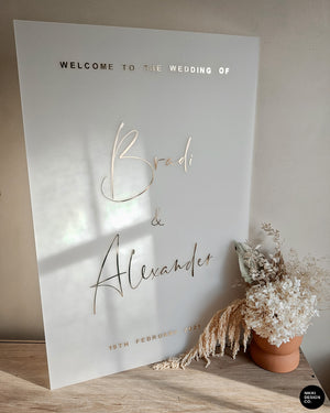 Frosted Welcome Sign with Gold or Rose Gold Vinyl Lettering, Frosted Wedding Sign