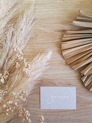 Minimalist Grey Wedding Place Cards