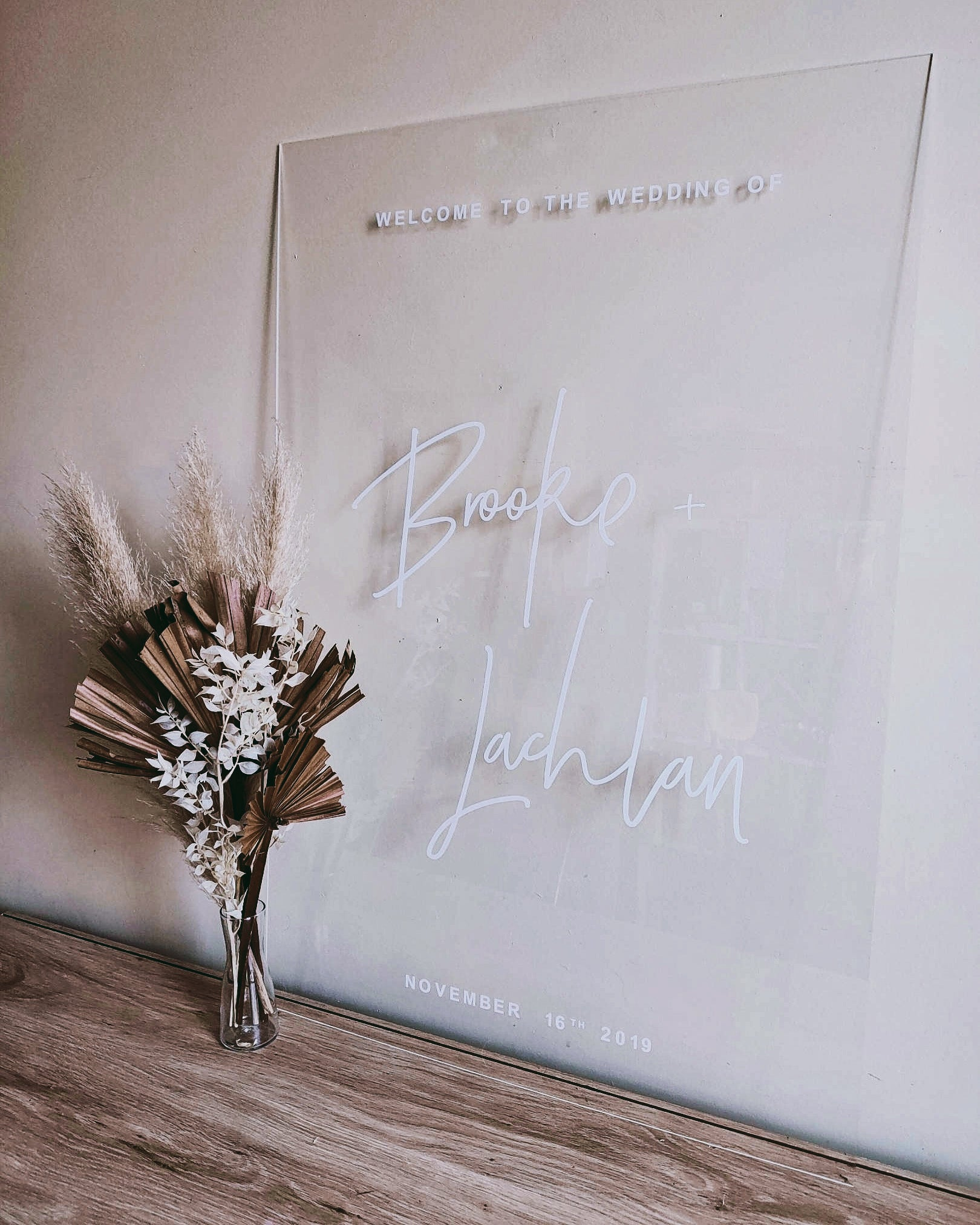 Clear Acrylic Welcome Sign, Engagement Party Signage