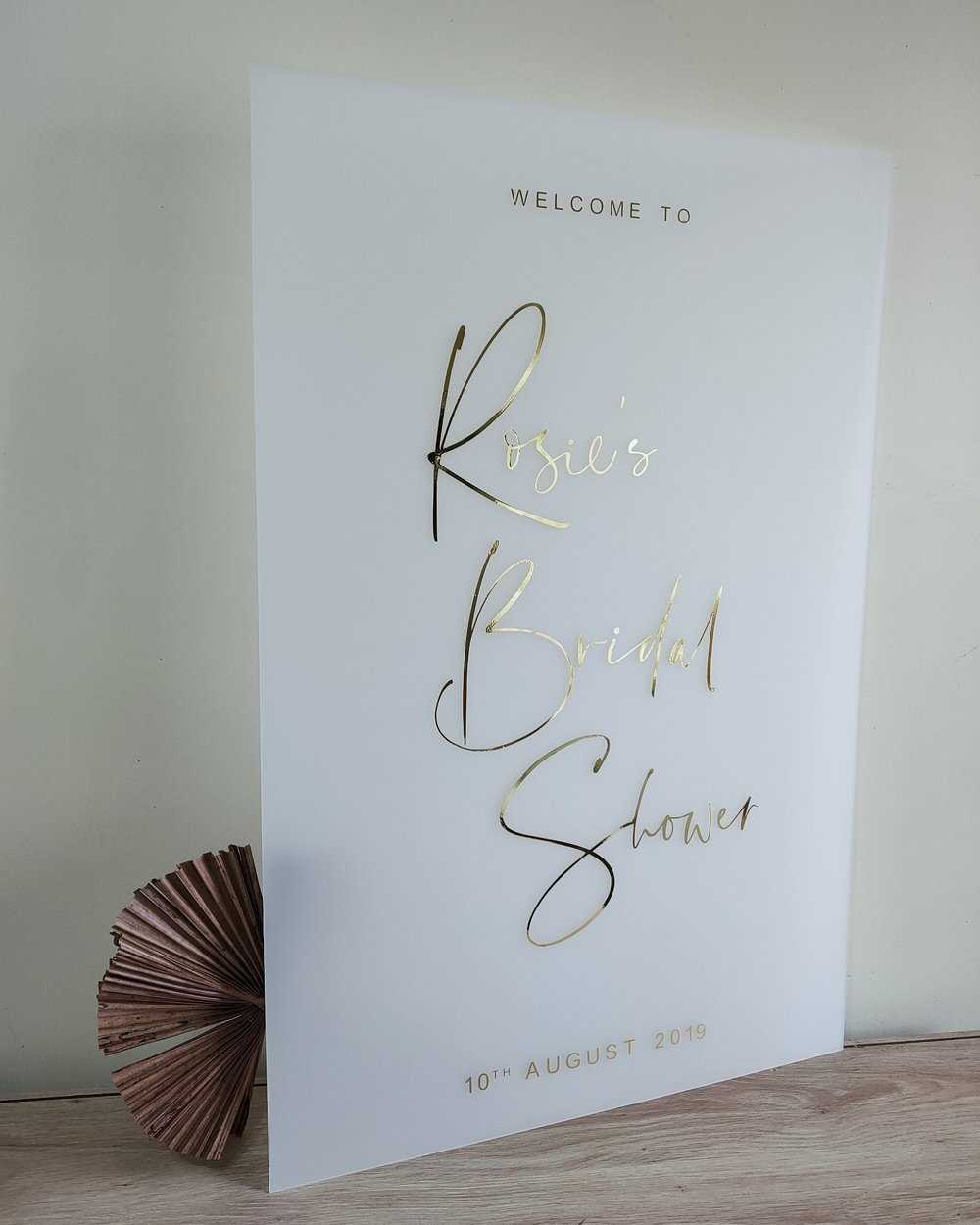 White Frosted Acrylic Wedding Welcome Sign with Gold or Rose Gold Vinyl Lettering