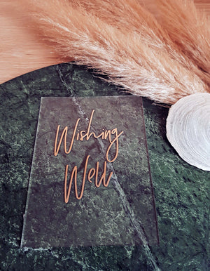 Clear Acrylic Rose Gold Wishing Well Sign - personalise this sign