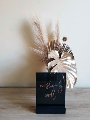 Personalise this sign - Smoke Grey Acrylic Wedding Sign, Black Wedding Sign, Wishing Well, Cards and Gifts, Guestbook Sign, Rose Gold Sign