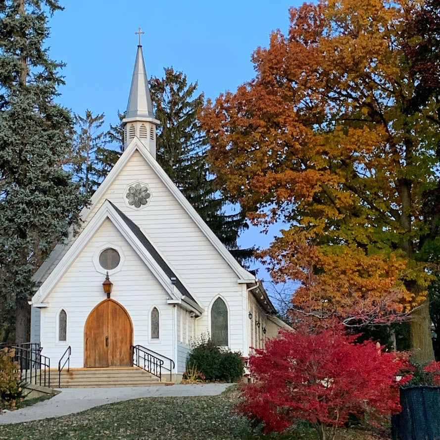 St Luke Church, Burlington in Fall, Note Card, Blank Inside