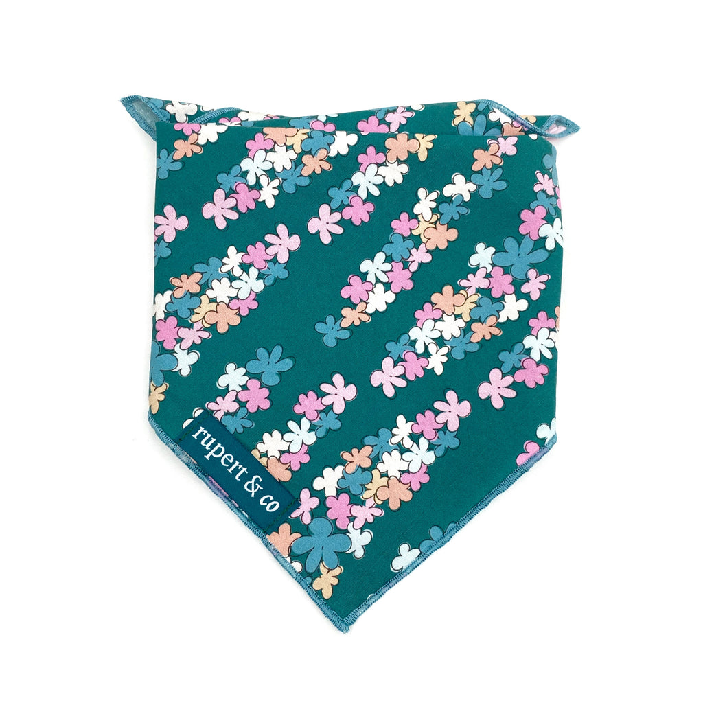 Teal Floral Dog Bandana