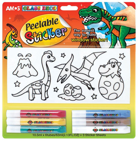'Amos' glass deco dinosaur peelable stickers - The Present Factory