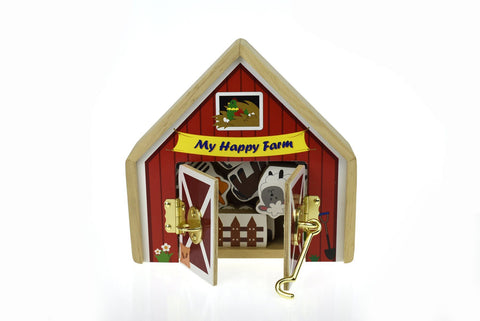 Wooden farm play set with metal latch - The Present Factory