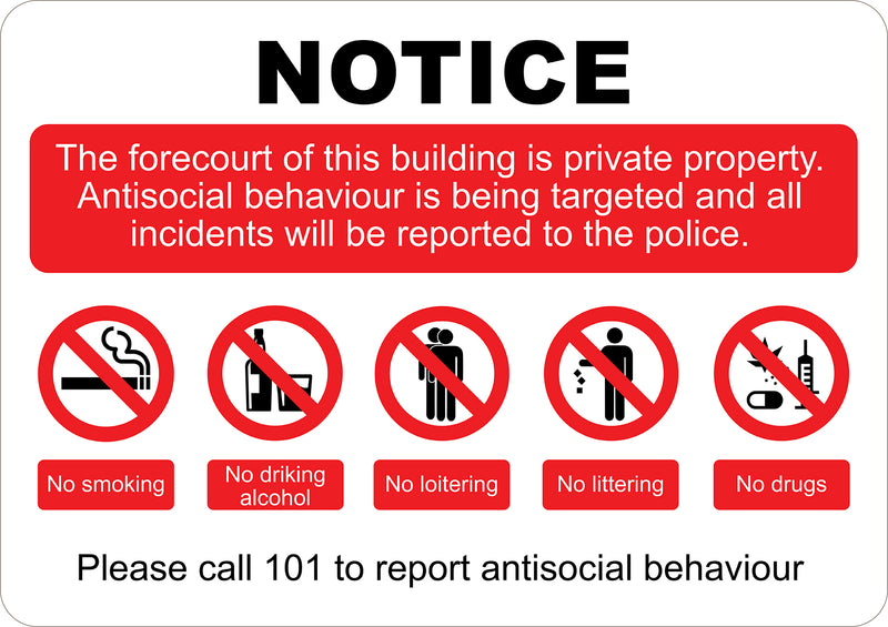 Private Property Anti Social Printed Sign