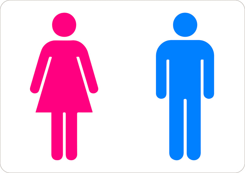 Men Women Toilet Pink and Blue Printed Sign