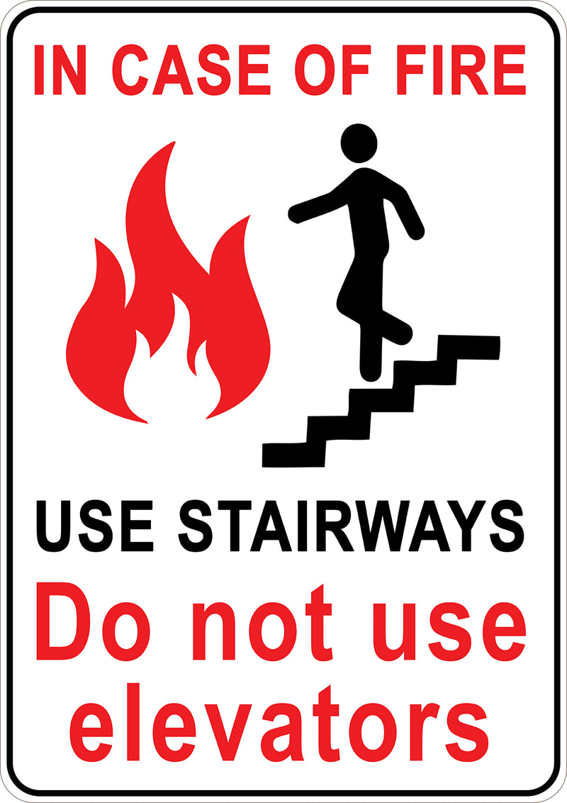 In Case Of Fire Do Not Use Elevators Printed Sign