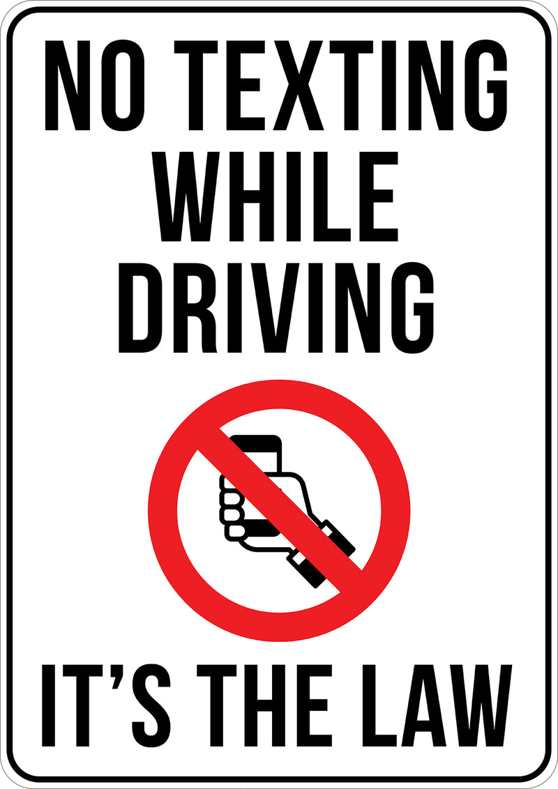 No Texting While Driving Printed Sign