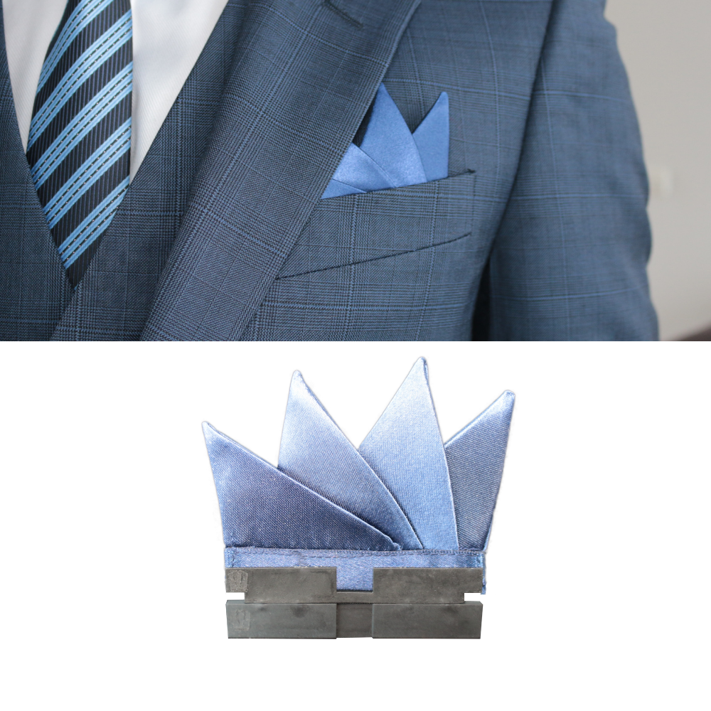 Perfect Square co blue perfect peaks with perfect base in a blue 3 piece suit