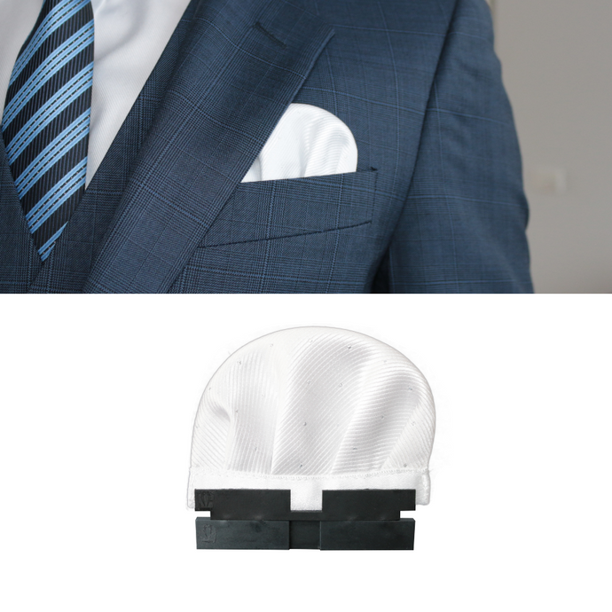 Perfect Square co white perfect puff with perfect base in a blue 3 piece suit