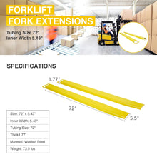 "Load image into Gallery viewer, 72"" Steel Pallet Forklift Extension Slide on Clamp Anti-Skid Lift Truck - Kaiezen"