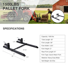 "Load image into Gallery viewer, Clamp on Pallet Forks 30"" for Tractor 1500lbs Load Capacity with Stabilizer Bar - Kaiezen"