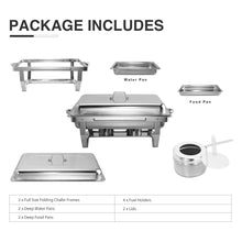 Load image into Gallery viewer, 2 Pack Foldable Chafer Chafing Dish Buffet Sets 9L/8Q Stainless Steel Pans Catering - Kaiezen